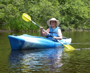 Betty Lou Chaika kayaking the Namekagon River