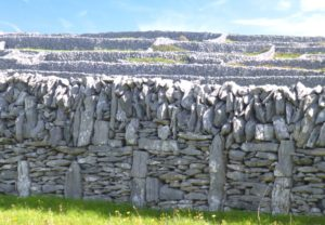 Stone wall on Inisheer, site of St. Gobnait's church