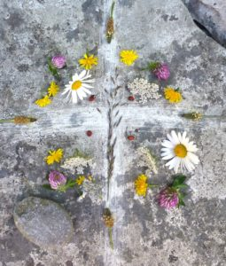 Mandala on altar, St. Gobnait's church, Inisheer