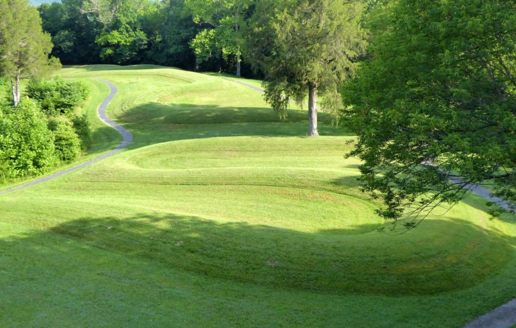 Serpent Mound, the largest effigy mound, sinuously coiling along the slope.