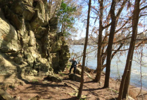 """Rock bluffs, person, trees, Savannah River in """"Turning a Trip Into a Pilgrimage, Earthsanctuaries.net"""