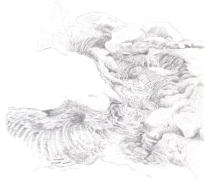 Black and white drawing by Betty Lou Chaika of a flowing creek in Inner Fish/Outer Fish