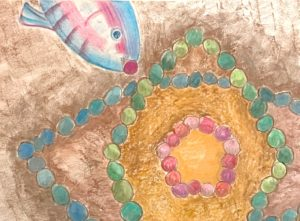 Colorful drawing by Betty Lou Chaika of a fish placing a rose pink pebble in the center of a circle of stones in Inner Fish/Outer Fish.