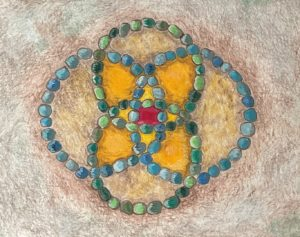 Colorful drawing of overlapping circles Vesica Piscis in Inner Fish/Outer Fish